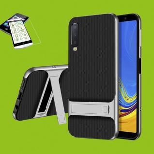 Für Samsung Galaxy A7 A750F Standing Tasche Outdoor Etuis Hülle Silber + H9 Glas