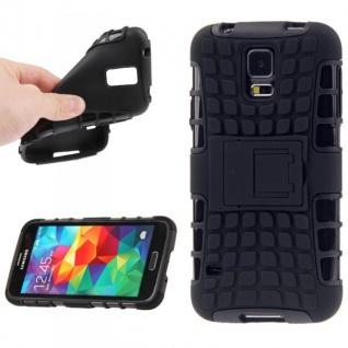 Hybrid Case 2 teilig Robot Schwarz Cover Hülle für Samsung Galaxy S5 Mini G800 F