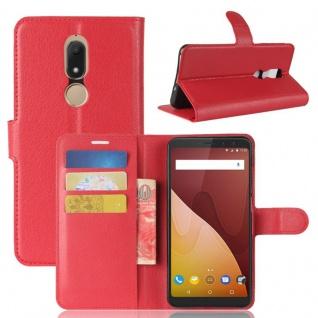 Tasche Wallet Premium Rot für Wiko View Prime Hülle Case Cover Etui Schutz Neu
