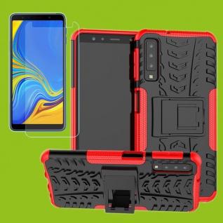 Für Samsung Galaxy A7 A750F 2018 Hybrid Tasche Outdoor 2teilig Rot + H9 Glas Neu