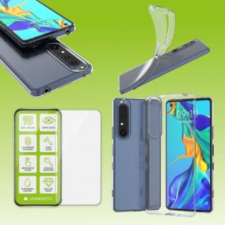 Für Sony Xperia 1 III 3. Gen Silikon Transparent + H9 Glas Handy Tasche Etuis
