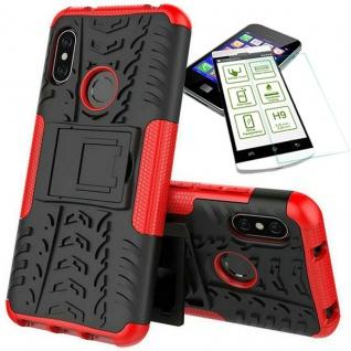Für Xiaomi MI A2 Lite Hybrid Tasche Outdoor 2teilig Rot Hülle + 0, 3 mm H9 Glas
