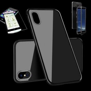 Für Apple iPhone X / XS 5.8 Magnet Glas Tasche Bumper Voll Schwarz + H9 Glas Neu