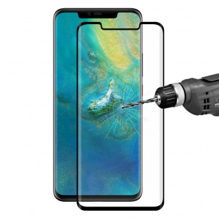 Für Huawei Mate 20 Pro 2x 4D 0, 3 H9 Full Curved Display Hart Glas Folie Schwarz
