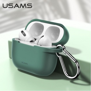 USAMS Apple AirPods Pro Cover Grün Karabiner Schutzhülle Tasche Case Etui