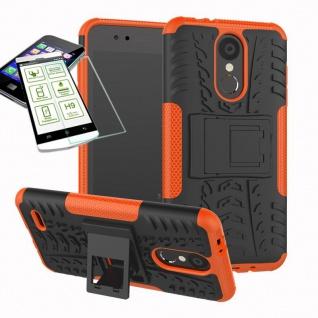 Für LG K9 2018 Hybrid Case Tasche Outdoor 2teilig Orange Hülle + 0, 26mm H9 Glas