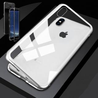 Für Apple iPhone XS MAX Magnet / Metall / Glas Transparent / Silber Tasche Hülle