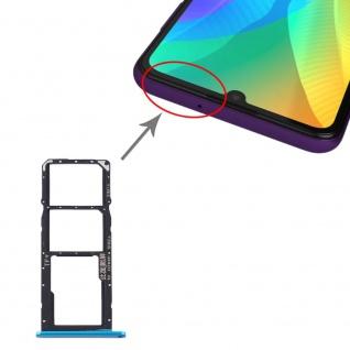 Für Huawei Y6P Dual Sim Card + Micro SD Card Tray Karten Halter Blau Neu
