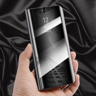 Für Huawei Y6 2018 Clear View Smart Cover Schwarz Tasche Wake Case UP Etui Neu