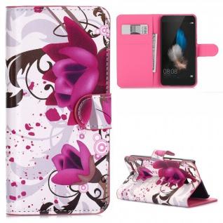 Schutzhülle Muster 3 für Huawei P9 Bookcover Tasche Case Hülle Wallet Etui Neu