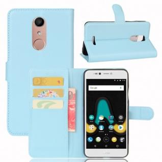 Tasche Wallet Premium Hellblau für Wiko Upulse Lite Hülle Case Cover Etui Schutz