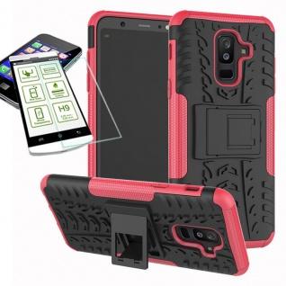Hybrid Tasche Outdoor 2teilig Pink für Samsung Galaxy A6 Plus A605 Hülle + Glas