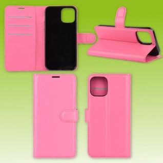 Für Apple iPhone 12 Mini Handy Tasche Wallet Pink Etuis Kunst-Leder Hülle Case