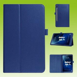 Für Samsung Galaxy Tab S7 Plus / S7 FE Dunkel Blau Kunst Leder Hülle Tablet Tasche Etuis