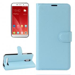 Tasche Wallet Premium Hellblau für ZTE Blade A602 Hülle Case Cover Etui Schutz
