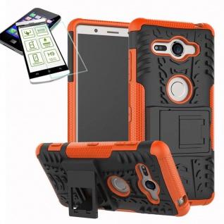 Hybrid Case 2 teilig Orange für Sony Xperia XZ2 Compact + 0, 26 H9 Glas Tasche
