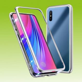 Für Xiaomi Redmi 9 Magnet Metall Glas Silber Handy Tasche Hülle Case Cover Case