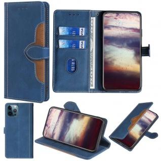 Für Apple iPhone 13 Pro Design Handy Tasche Blau Etuis Schutz Kunst-Leder Hülle