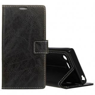 Tasche Wallet Premium Schwarz für Sony Xperia XZ1 Compact Hülle Case Cover Etui