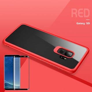 Für Samsung Galaxy S9 Plus Original ROCK Silikon Tasche Hülle Rot + 4D H9 Glas