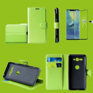 Für Huawei P30 Tasche Wallet Grün Hülle Etuis Cover + H9 4D Curved Hart Glas Neu