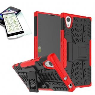 Hybrid Case 2 teilig Rot für Sony Xperia XA1 Hülle + 0, 3 mm H9 Hartglas Tasche