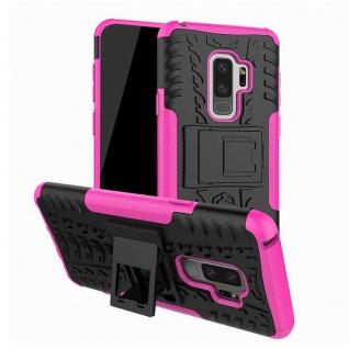 Hybrid Case 2teilig Outdoor Pink Tasche Hülle für Samsung Galaxy S9 Plus G965F