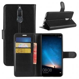 Tasche Wallet Premium Schwarz für Huawei Mate 10 Lite Hülle Case Cover Etui Neu