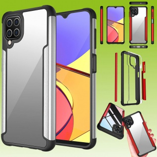 Für Samsung Galaxy A12 Hybrid Iron Man Silber Handy Tasche Etuis Hülle