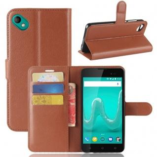 Tasche Wallet Premium Braun für Wiko Sunny 2 Plus Hülle Case Cover Etui Schutz