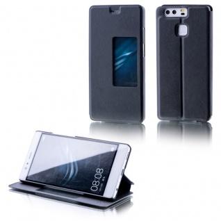 Booktasche Flip Window Schwarz für Huawei P9 Tasche Smart Cover Hülle Wake UP