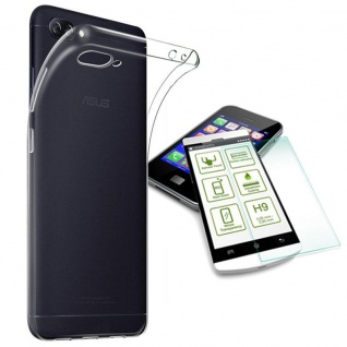 Silikoncase Transparent Tasche + H9 Hartglas für ASUS Zenfone 4 Max ZC554K Neu