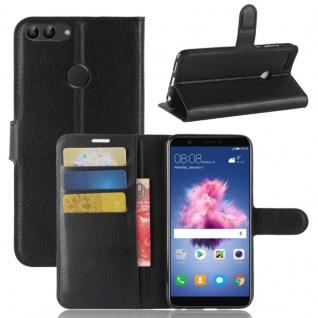 Tasche Wallet Premium Schwarz für Huawei Enjoy 7S / P Smart Hülle Case Cover Neu