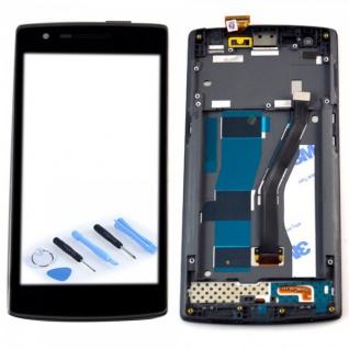 Display Full LCD Komplett Einheit mit Rahmen für ONEPLUS One 1+ A0001 Schwarz
