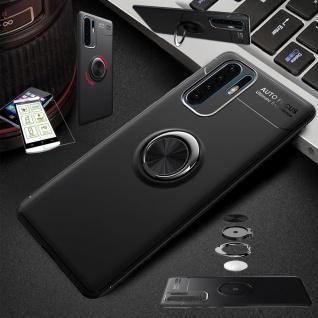 Für Samsung Galaxy A50 Dünn Magnet Metall Ring Tasche Schwarz + H9 Glas Etuis