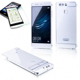 Alu Bumper 2 teilig Silber + 0, 3 H9 Hartglas für Huawei P9 Tasche Case Hülle