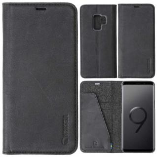 Ledertasche Sunne Card für Samsung Galaxy S9 Ledertasche Tasche Hülle Etui Black