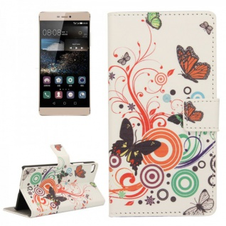 Schutzhülle Muster 2 für Huawei Ascend P8 Bookcover Tasche Hülle Wallet Case Neu