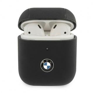BMW Apple AirPods/AirPods 2 Leder Cover Schwarz Schutzhülle Tasche Leather Case
