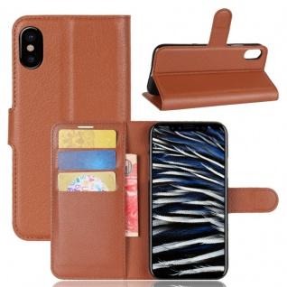 Schutzhülle Braun für Apple iPhone X 5.8 Zoll Bookcover Tasche Case Cover Top Neu