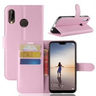 Tasche Wallet Premium Rosa für Huawei P20 Lite Hülle Case Cover Schutz Schale