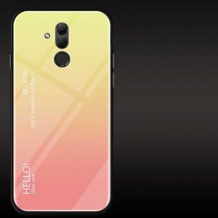 Für Huawei Mate 20 Lite Color Rainbow Effekt Glas Cover Gelb Tasche Hülle Case
