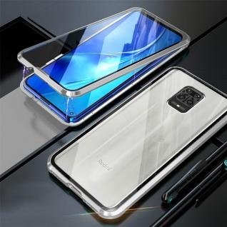 Beidseitige Magnet Bumper Handy Tasche Silber Xiaomi Redmi Note 9S/9 Pro Case