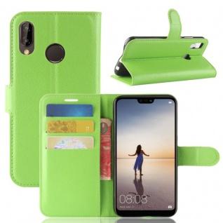 Tasche Wallet Premium Grün für Huawei P20 Lite Hülle Case Cover Schutz Schale