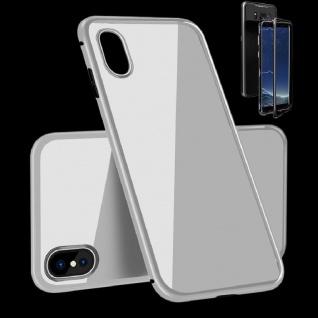 Für Apple iPhone X 10 XS 5.8 Magnet / Metall Glas Voll Silber Weiß Tasche Case