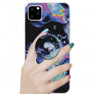 Schutzhülle Cover für Apple iPhone 11 Deep Purple 3D Marble Silikon Tasche Etui