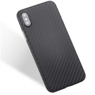Hardcase Carbone Style Schwarz für Apple iPhone X / 10 Tasche Hülle Cover Neu