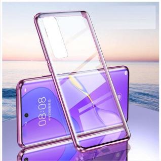Beidseitige Magnet Glas Bumper Handy Tasche Lila für Samsung Galaxy S21 Plus Neu