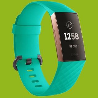 Für Fitbit Charge 3 Kunststoff Silikon Armband für Männer Größe L Mint-Grün Uhr