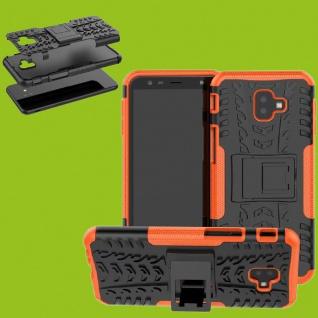 Für Samsung Galaxy J4 Plus J415F Hybrid Case 2teilig Outdoor Orange Tasche Cover